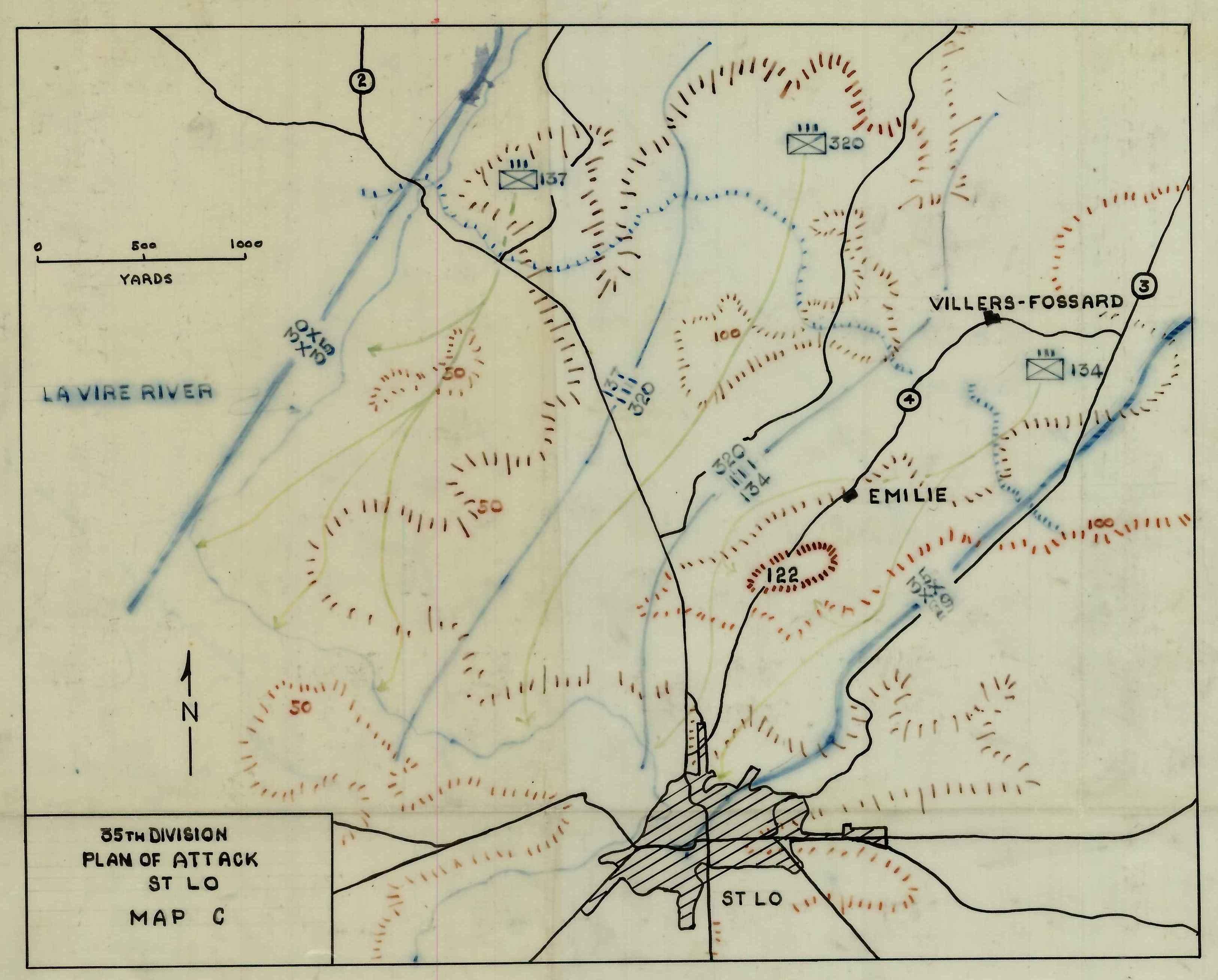 Saint-Lo France  city images : 1944 St Lo France Map